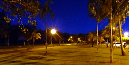 Nightcliff Clifftop Bike Track at night
