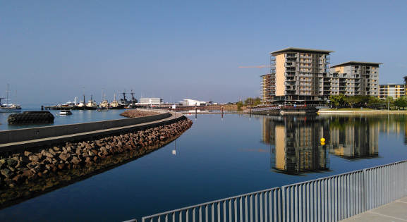 Darwin Wharf precinct in the stillness of morning