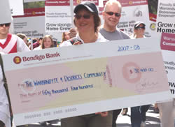 A community bank cheque for local projects