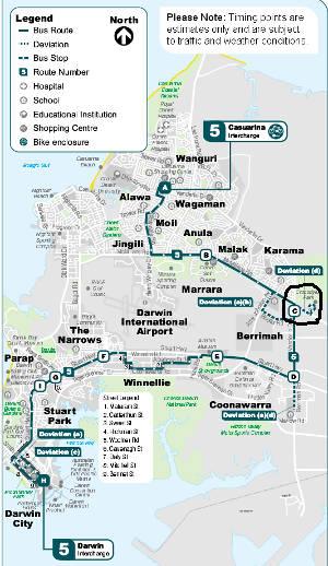 map of bus route #5 past Crocodylus Park