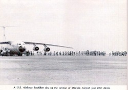 Evacuees queuing to board US Starlifter