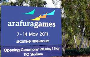 Previous Arafura Games sign