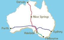 map of connecting Australian Railways