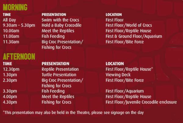 Crocosauros Cove timetable