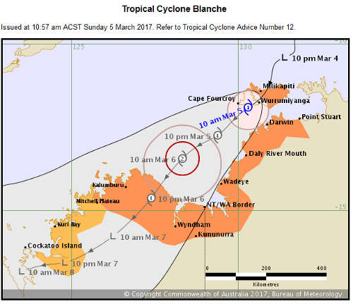 Cyclone Blanche warning map