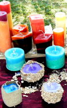 coloured festival candles