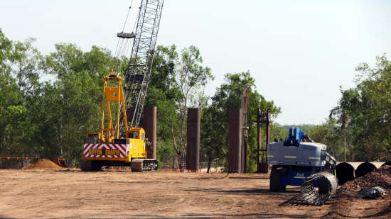 Finniss River bridge construction