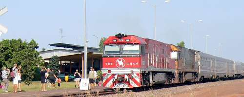 Passengers photograph the Ghan at the Darwin passeger terminal.