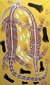 Painting of family hunting goannas