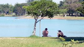 Lake Alexander swimmer stays within the swimming area