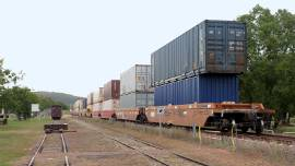 freight train passes by