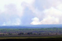 Rising smaoke from early dry season fires