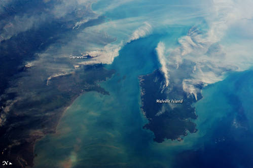 A NASA photo captures smoke plumes from fires around Darwin