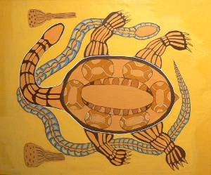The snake and the turtle live in the billabongs. The snake provides for the turtle by crushing food for the snake and in return the turtle carries the snake on it's back through the water.