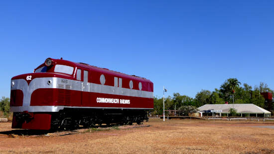 Restored locomotive and station