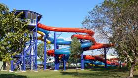 Side view of the water slides