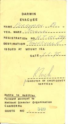 My Darwin Evacuee Card