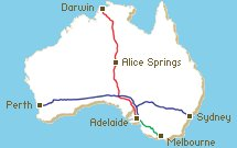 map of connecting Australian Railways