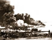 Ships burning in Darwin Harbour