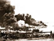 Ships burning in Darwin Harbour