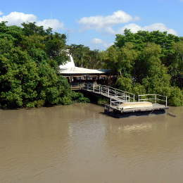 The jetty for the Adelaide River Queen jumping croc tour