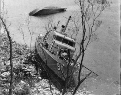 HMAS Attack driven ashore by Cyclone Tracey<br> (Bruce Howard photographs for Herald and Weekly Times)