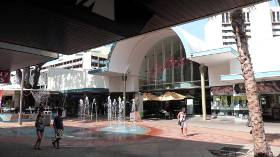 Fountains play outside the Galleria Arcade