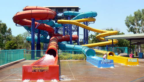 Three water slides.
