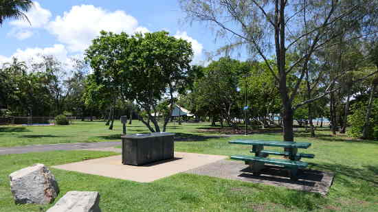 Playground and BBQ facilities in the park next to the boat ramp.