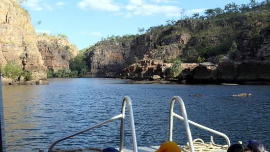 On a tour boat heading up Nitmiluk Gorge