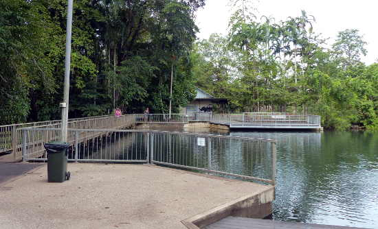 Walkway along the weir connects the kiosk area and playground